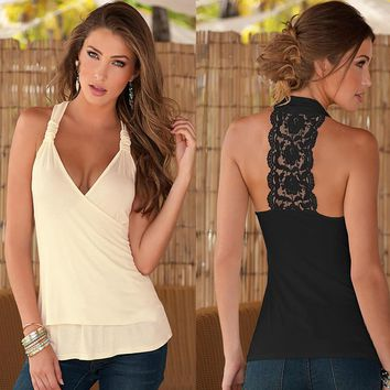 Summer Fashion Female Solid Color Halter Lace Stitching Harness Deep V Vest Top