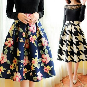 Woman's Skirt Retro Flowers Tutu bust Knee-length Skirt Lady Classic Fashion Ball Gown Skirts