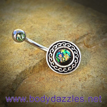 Green Glitter Opal Belly Button Ring Surgical Stainless Steel 14ga Navel Ring