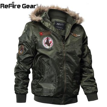 Trendy ReFire Gear Winter Military Bomber Jacket Men Air Force Army Tactical Jacket Warm Wool Liner Outerwear Parkas Hoodie Pilot Coat AT_94_13