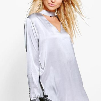 Charlotte Satin Choker Long Sleeve Blouse