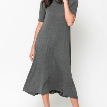 solid jersey swing midi dress