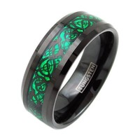 ALCANDER Black Tungsten Ring W/ Green Background Inlay Dragon Design Pattern - 8mm