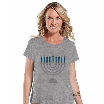 7 at 9 Apparel Women's Menorah Hanukkah T-shirt