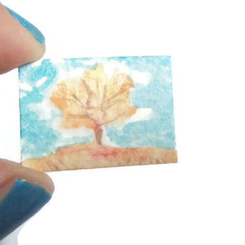 orange tree miniature autumn fall red landscape painting 1:12 dollshouse doll house gift mini watercolor nature collector lasoffittadiste