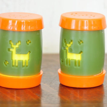 Saint Labre Salt and Pepper Shakers, Orange and Green Plastic Shakers, Spice Jars