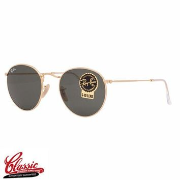 Kalete RAY-BAN Round Metal SUNGLASSES RB3447 001 Gold Frame 50mm