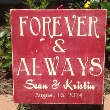 Forever & Always - Personalized Wedding Sign -  Important Date, Wedding Gift, Bridal Shower Gift, Engagement Gift, Anniversary Gift