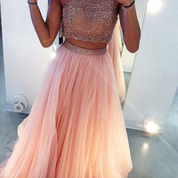 Custom Made 2 Pieces Pink Long Prom Dresses, Formal Party Dresses