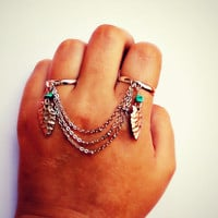 arrowhead and turquoise double ring in silver