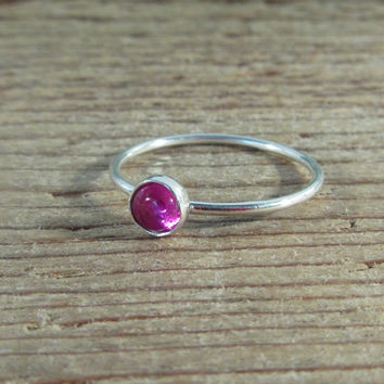 Stacking Ring Silver Ruby Gemstone