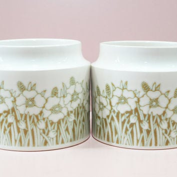 Storage Jar Set, Hornsea Pottery, Fleur Pattern, China Pots, Utensil Jar, Vintage Kitchen, Flower Design, Floral Jars, Matching Set - 1970s