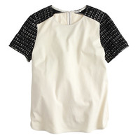 J.Crew Womens Tweed-Sleeve Top