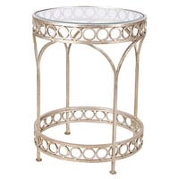 Romanesque Side Table, Silver Leaf