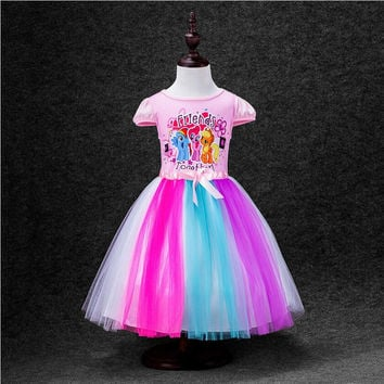 2-8 Yrs Big Kids Girls Dress My Little Pony Summer Girl Rainbow Dresses girls princess For Children Costume Vestidos