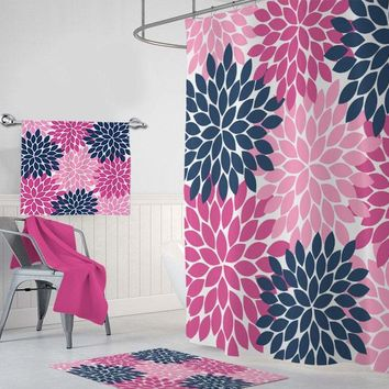 Flower SHOWER CURTAIN, Navy Hot Pink Flower Bathroom Decor, Girl Flower MONOGRAM Personalized Bathroom Shower Curtain Towel Mat Set