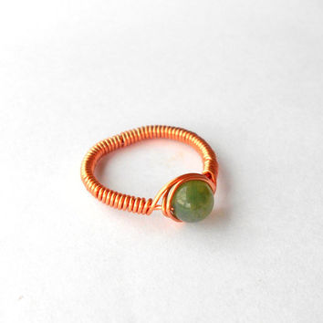Ring, copper gemstone ring, Moss Agate, wire ring, wire wrapped ring, gemstone ring,boho ring, custom ring,healing stone, natural stone