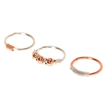 20G Rose Gold & Silver Mix Nose Rings
