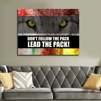 Don't Follow The Pack Lead The Pack! Framed Canvas Wall Art Motivational Office Art Wolf Art