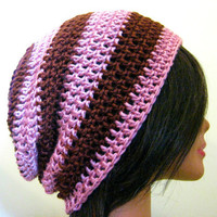 Slouchy Hat Pink Brown Striped Womens Slouch Hipster Beanie