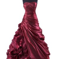 Cocomelody Ball Gown Strapless Taffeta Beaded Prom Dress Prpn0094 2 Burgundy