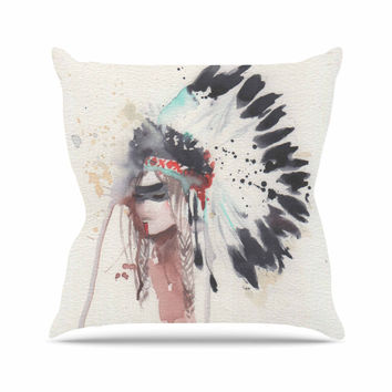 "Rebecca Bender ""Warrior Bride"" Beige Multicolor Throw Pillow"