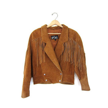 Vintage Fringed Leather Coat. Brown Suede Jacket. Cropped Bohemian Western Jacket. Southwestern 80s Tassel Coat.