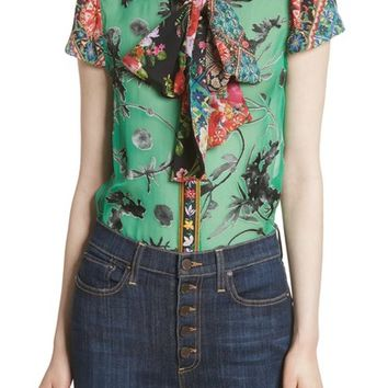 Alice + Olivia Bow Neck Mixed Print Blouse | Nordstrom