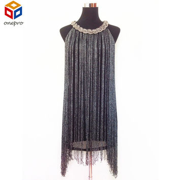 GREAT GATSBY OMBRE METAL HALTER-NECK BLACK FRINGE BEADED 1920S FLAPPER CHARLESTON DRESS SEXY WINTER PARTY BODYCON