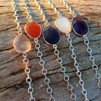 Genuine Gemstone Rose Quartz, Carnelian, Labradorite, Moonstone, Amethyst Faceted Oval Bezel Sterling Silver Minimalist Layering Necklace