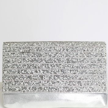 Rhinestone Speckled Clutch Silver
