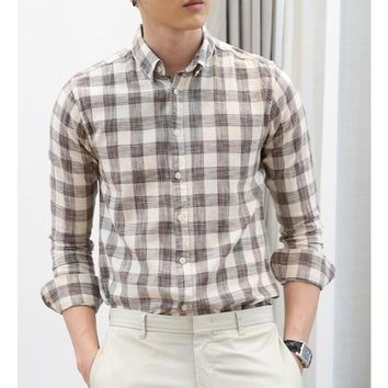 Mens Beige Checkered Shirt