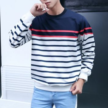 Autumn and winter striped sweater men Hulan T-neck loose thin long-sleeved students casual couple coat men and women tide