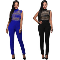 Women Slim Sleeveless O Neck Jumpsuit Sexy Party Bodysuit Bandage Jumpsuit Beading Gold Hot Sale Rompers