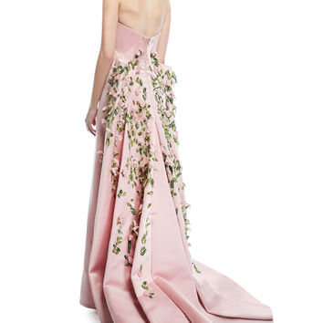 Zac Posen Strapless Duchess Satin Evening Gown with Floral-Vine Embroidery