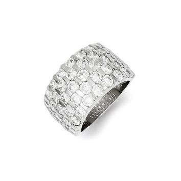 Sterling Silver CZ Wide Band Ring