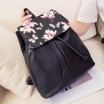 Butterfly Flower Printed Leather Backpack