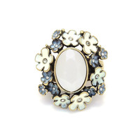 Gold-Tone White Crystal And Enamel Flower Stretch Ring