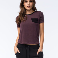 H.I.P. Striped Contrast Womens Pocket Tee Plum  In Sizes