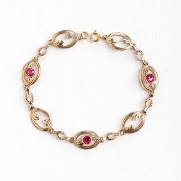 Vintage 10k Rosy Yellow Gold Panel Created Ruby Bracelet - Art Deco 1930s Red Pink Synthetic Round Gem July Birthstone Fine Jewelry
