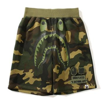 Bape Aape Summer Fashion New Shark Print Camouflage Women Men Shorts Black