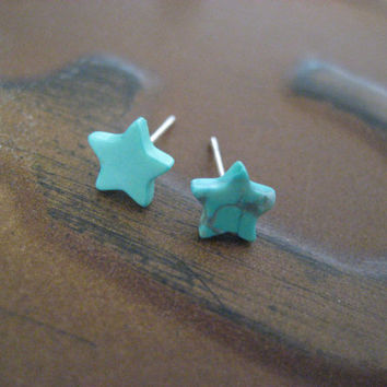 Tiny Turquoise Star Studs Teal Stone Post by Azeetadesigns on Etsy