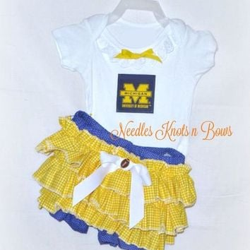 Girls University of Michigan Wolverines Cheerleader Outfit, Baby Girls Wolverines Football Outfit, Coming Home Outfit