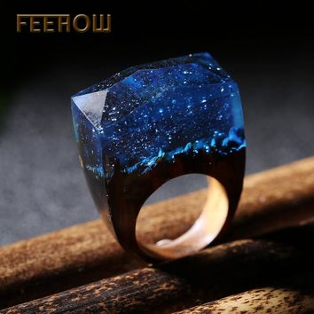 Unique Resin Wood Rings Magic Forest Wooden Women Handmade Jewelry Deep Blue gift