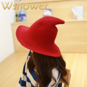 Wool Witch Fisherman Hat For Women Pointed Tall Knitted Bucket Hat Fall Winter Woolen Beach Cap Wide Brim Sun Hat Fishing Cap