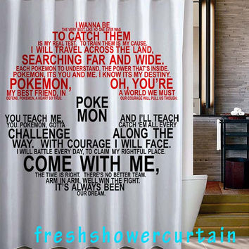 Pokemon Typography Shower Curtain
