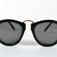 Vintage 80s Black Gold Wire Round Circle Clubmaster Sunglasses