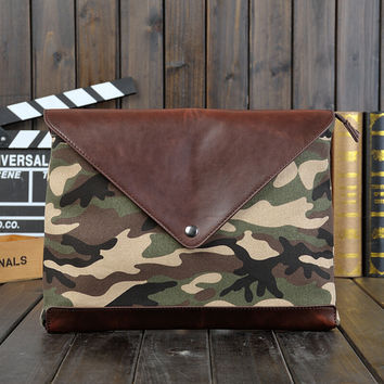 camouflage canvas leather messenger bag gift