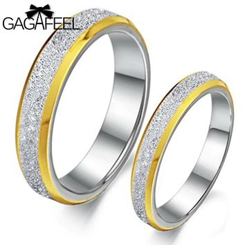 High Quality Women Men Frosted Finger Rings Titanium Steel Couples Lovers Gold Color Jewelry Luxury Weeding Bijoux Gifts OR158