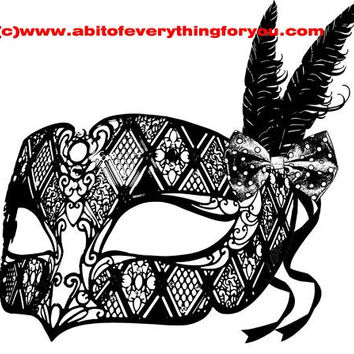 filigree bird feathers ribbon mask masquerade clipart png mardi gras Digital Download printable art large Image graphics digital stamp